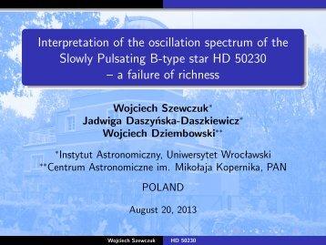 Interpretation of the oscillation spectrum of the Slowly Pulsating B ...