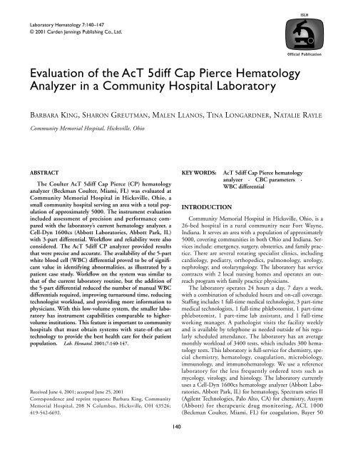 Evaluation of the AcT 5diff Cap Pierce Hematology Analyzer