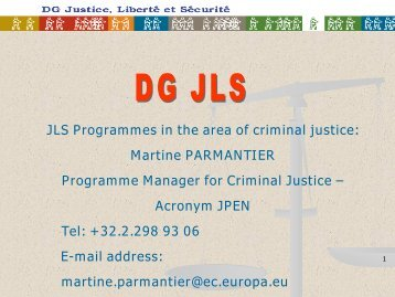 DG JLS Funding Programs - CEP, the European Organisation for ...
