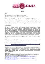 vezi aici petiţia suporterilor către CNCD (.pdf) - Ziua de Cluj