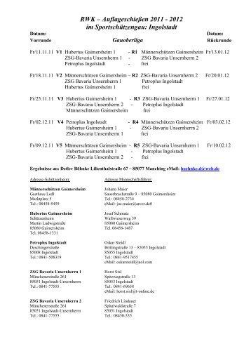 RWK Senioren Auflage - Einteilung