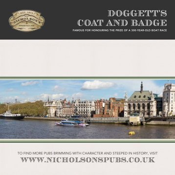 DOGGETT'S COAT AND BADGE - Nicholson's Pubs