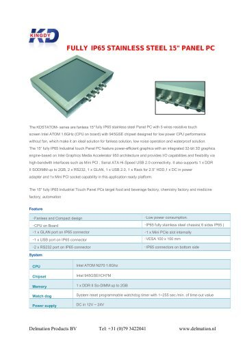 """FULLY IP65 STAINLESS STEEL 15"""" PANEL PC - Delmation"""