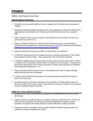 Finance Primer – Charitable Donations - Imagine Canada