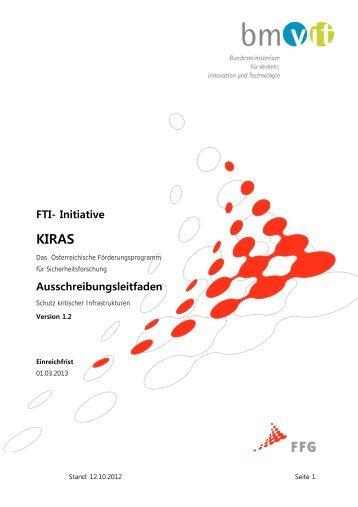 FTI- Initiative Ausschreibungsleitfaden - KIRAS Sicherheitsforschung