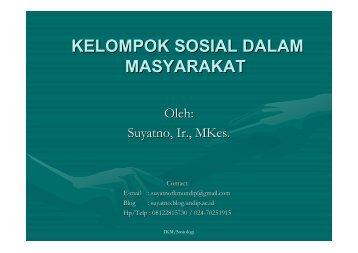 bab2-Kelompok Sosial - Suyatno, Ir., MKes - Undip