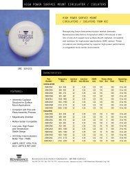 824-2200 MHz High Power SM Circulator/Isolators SMC series