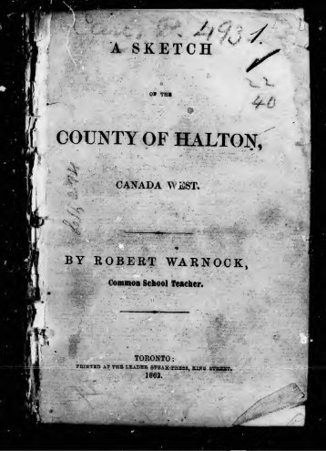 A sketch of the county of Halton, Canada West - ElectricCanadian.com