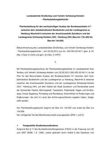 Planfeststellung - Gemeinde Großenaspe