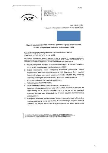 Warunki przyłączenia nr 5231310241 - PGE Dystrybucja