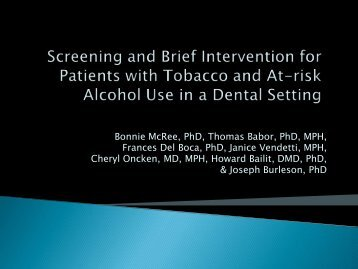 Screening and Brief Intervention for Patients with Tobacco - INEBRIA