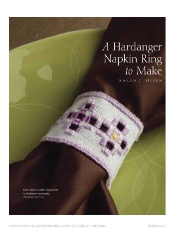 A Hardanger Napkin Ring to Make - Interweave