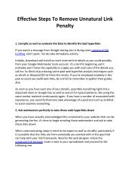 Effective Steps To Remove Unnatural Link Penalty