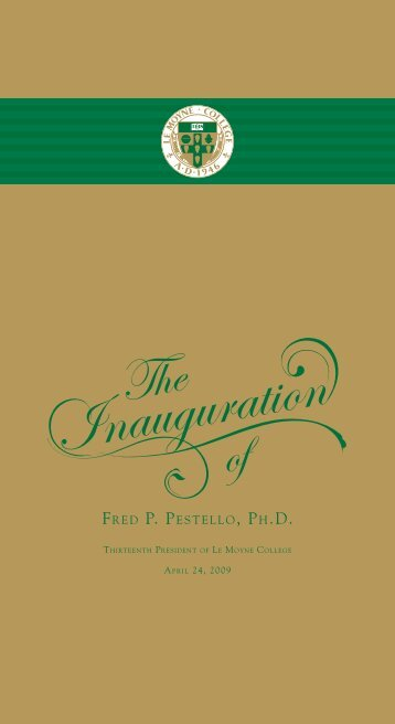 Download the Inauguration Program (pdf) - Le Moyne College