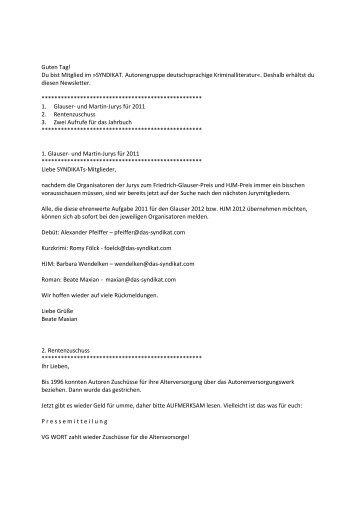 Newsletter Mai 2010 - Das Syndikat