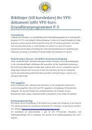 VFU-dokument grundlärarprogrammet F-3 - Karlstads universitet