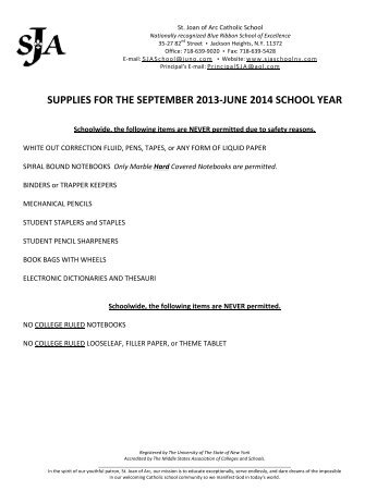 supplies for the september 2013-‐june 2014 school year
