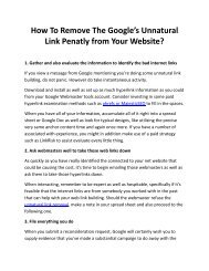 How To Remove The Google's Unnatural Link Penatly from Your Website?