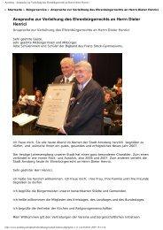 Ansprache zur Verleihung des Ehrenbürgerrechts ... - neheims-netz.de