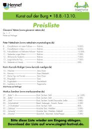 Preisliste aller Kunstwerke der diesjährigen ... - Siegtal-Festival