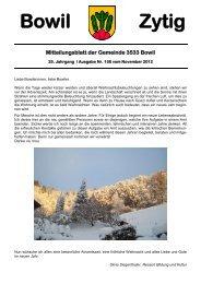 Bowil-Zytig Nr. 158 vom November 2012