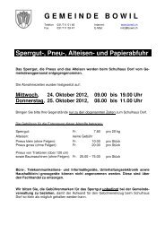 Flugblatt Sperrgutabfuhr 2012 - Bowil
