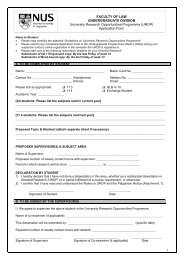 Application Form - Faculty of Law - National University of Singapore
