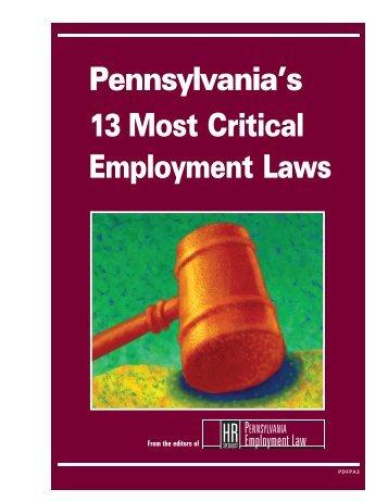 Pennsylvania's 13 Most Critical Employment Laws