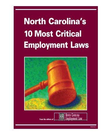 North Carolina's 10 Most Critical Employment Laws