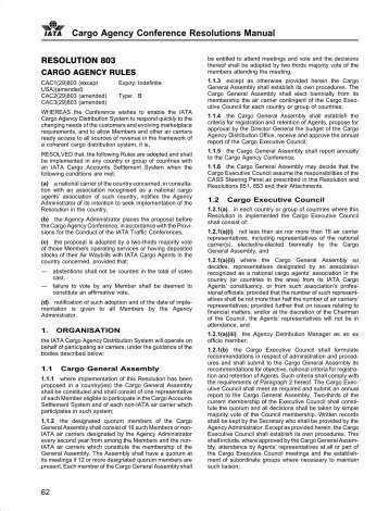 c Cargo Agency Conference Resolutions Manual