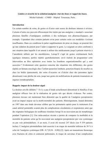 Limites et sécurité de la sédation/analgésie: état des lieux ... - CNRD