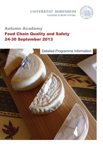 Autumn Academy Food Chain Quality and Safety 24-30 ... - MOEL