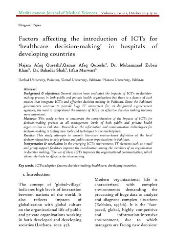 Factors affecting the introduction of ICTs for 'healthcare decision-making' in hospitals of developing countries