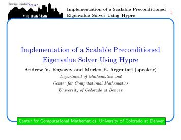 Implementation of a Scalable Preconditioned Eigenvalue ... - MGNet