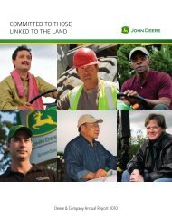 COMMITTED TO THOSE LINKED TO THE LAND - John Deere