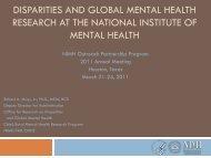 Disparities and Global Mental Health Research at NIMH
