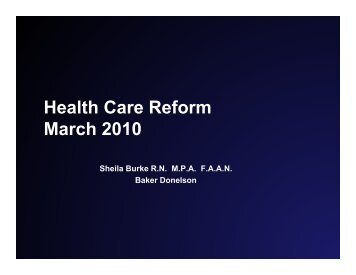 Health Care Reform March 2010 - Louisiana Department of Insurance