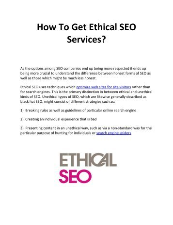 How To Get Ethical SEO Services?
