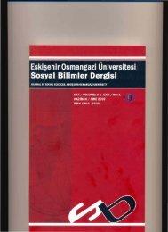 Kapak - Eskişehir Osmangazi Üniversitesi Sosyal Bilimler Dergisi