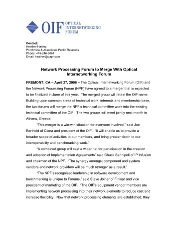 Network Processing Forum to Merge With Optical Internetworking - OIF