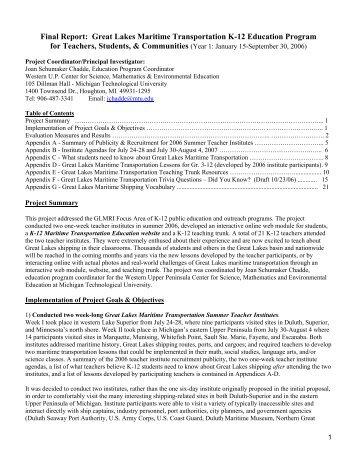 Great Lakes Maritime Transportation K-12 Education Program for ...