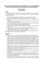 Kocaeli Üniversitesi Akademik Atama Yönergesi
