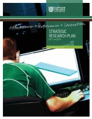 Strategic Research Plan 2011 – 2014 - Durham College
