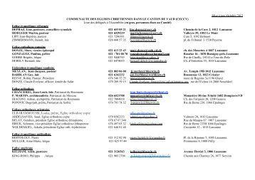Liste des délégués à l'Assemblée générale - La CECCV