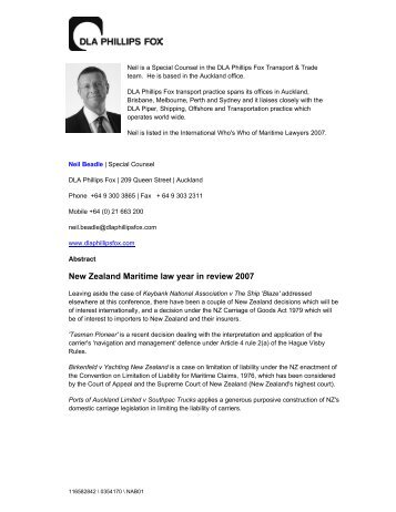 New Zealand Maritime law year in review 2007