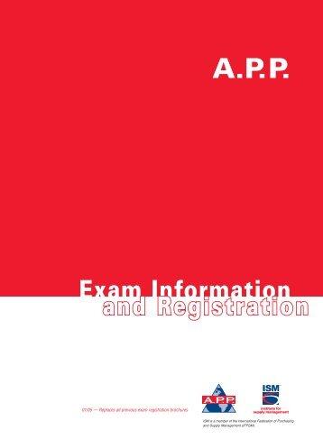 APP Exam Registration Brochure - Institute for Supply Management