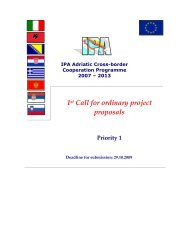 1st Call for ordinary project proposals