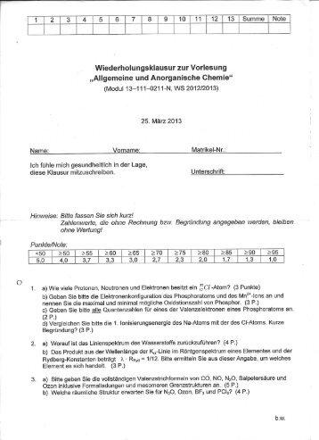 1 2 3 4 5 6 7 8 9 10 11 12 13 Summe Note - Chemie - Fundgrube
