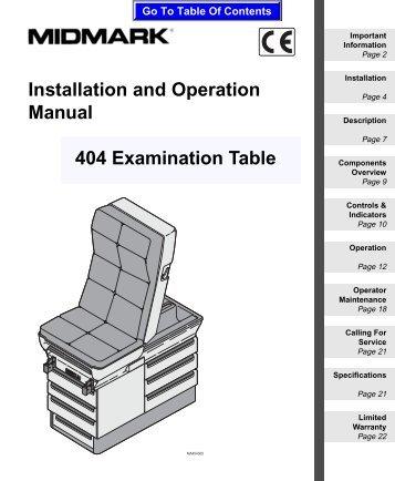 104 Examination Table Installation And Operation Manual