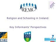 Religion and Schooling in Ireland: Key Informants' Perspectives - ESRI